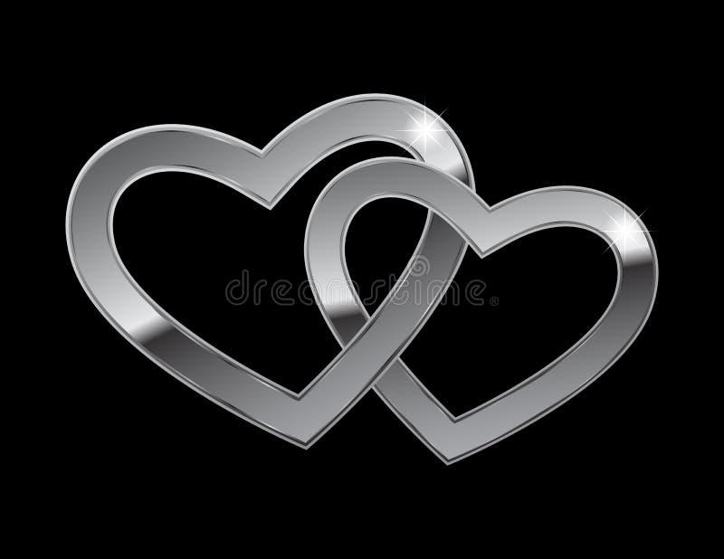 сердца metal 2 иллюстрация вектора
