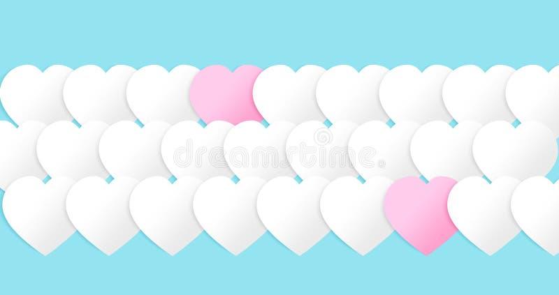 Сердца WebValentines для места крышки, открытки почты Бумажные элементы на голубой предпосылке Символы любов в форме сердца иллюстрация вектора