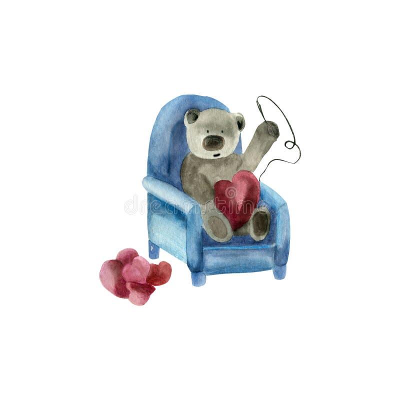 Сердцеводный медведь в кресле, закачающем сердца стоковая фотография rf