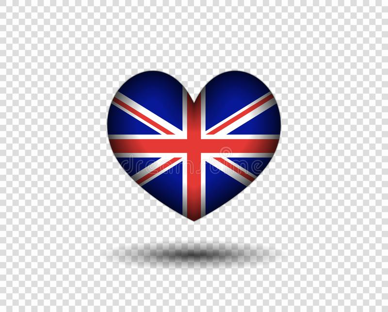 Сердце абстрактно с тенью, флагом Великобритании Значок, флаг Англии логотипа r r иллюстрация штока