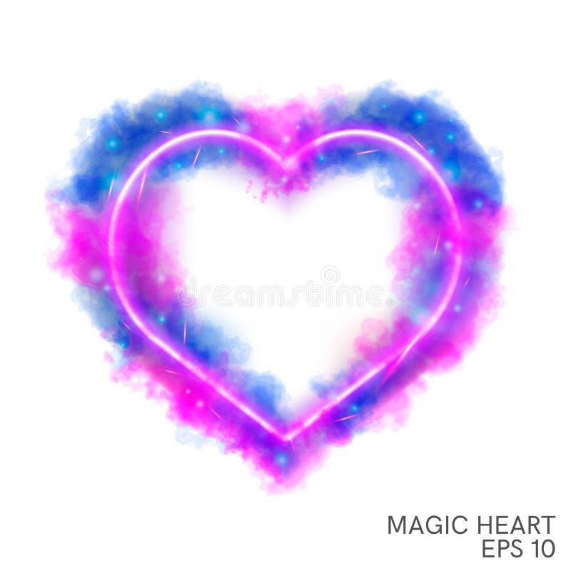 Сердце акварели волшебное пламенеющее с неоновым контуром иллюстрация штока