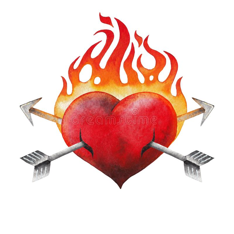 Сердце акварели пламенеющее прокалыванное 2 стрелками иллюстрация вектора