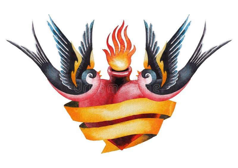 Сердце акварели пламенеющее с лентой и ласточками иллюстрация вектора