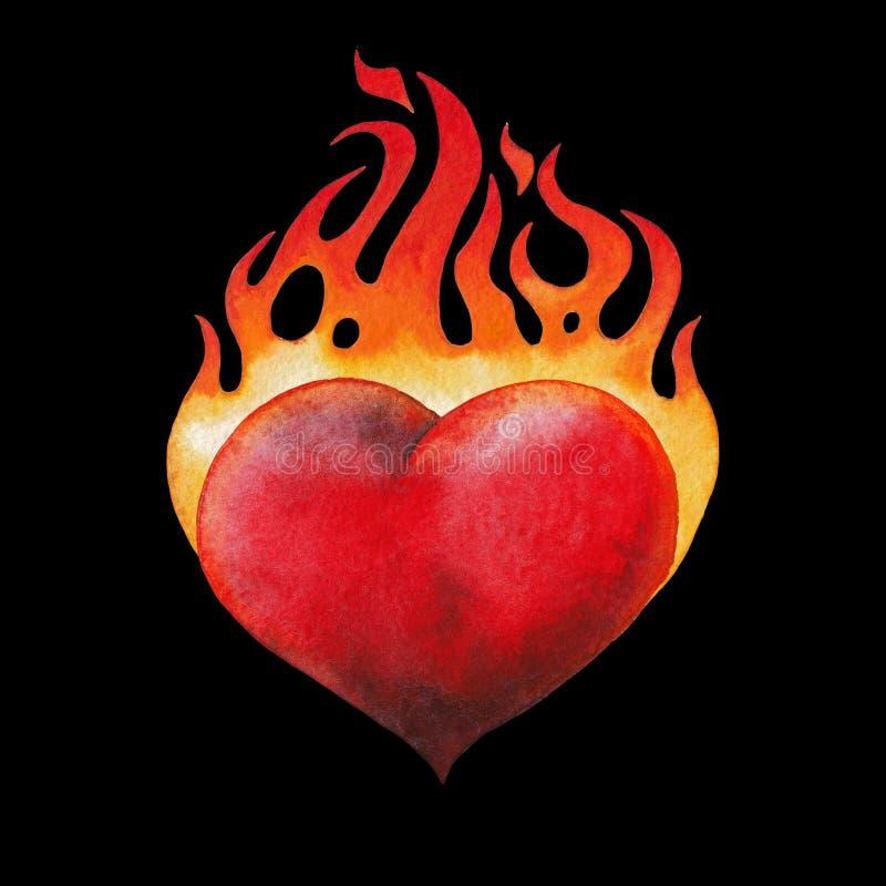 Сердце акварели пламенеющее иллюстрация штока
