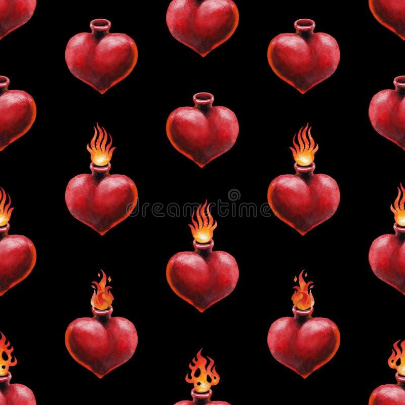 Сердце акварели пламенеющее бесплатная иллюстрация