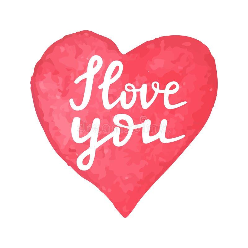 Сердце акварели руки вычерченное с текстом каллиграфии я тебя люблю Цитата написанная рукой я тебя люблю Романтичный дизайн для иллюстрация штока