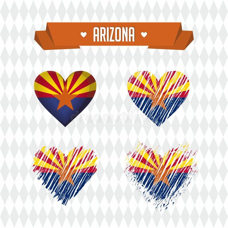 Сердце Аризоны с флагом внутрь Символы векторной графики Grunge иллюстрация вектора
