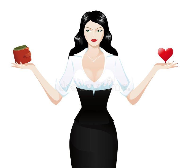 сердце брюнет держа сексуальный бумажник иллюстрация штока
