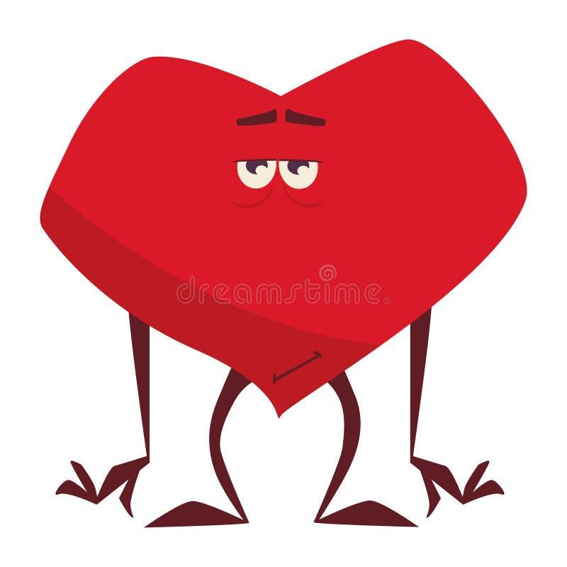 Сердце Валентайн, грустный, равнодушное, положило его руки на все иллюстрация вектора