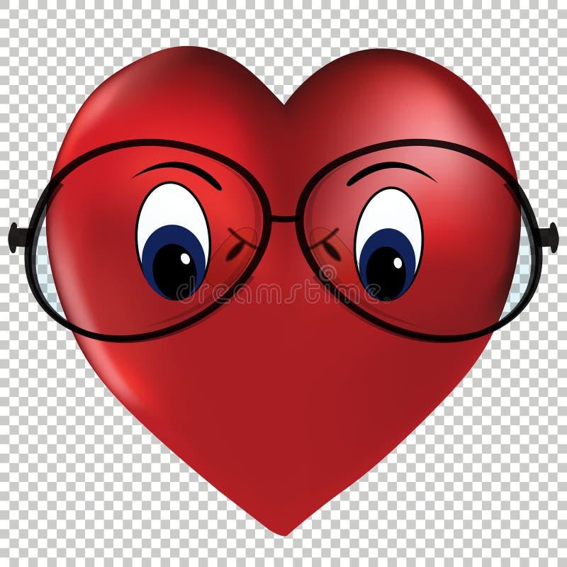 Сердце вектора стекел любов нося иллюстрация штока