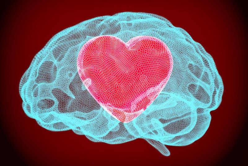 Сердце внутри мозга, умная концепция влюбленности 3d иллюстрация штока