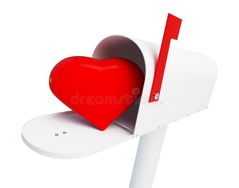Сердце в вопросительном знаке шляпы градации почтового ящика на белой иллюстрации предпосылки 3D, перевод 3D бесплатная иллюстрация