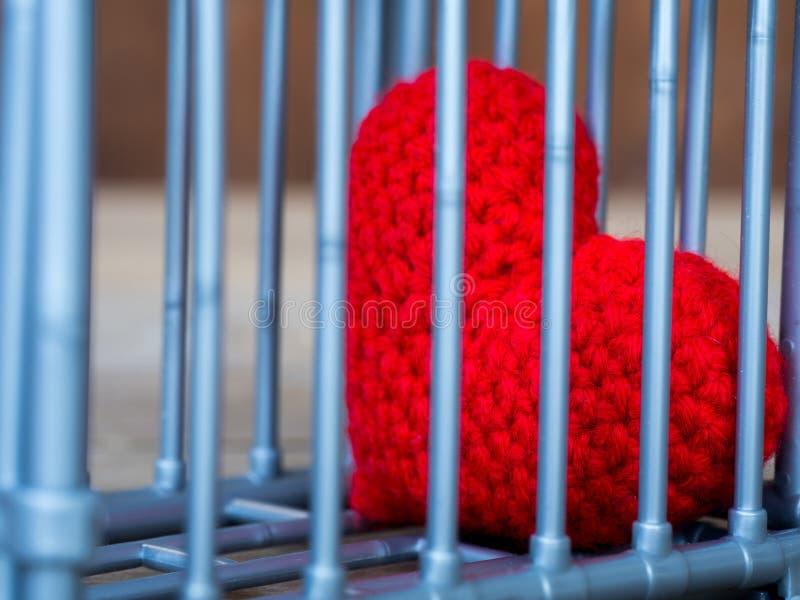 Сердце в клетке положенной на деревянный стол, оно показывает закрытие свободы и влюбленности Влюбленность разочарованна и не удо стоковые изображения