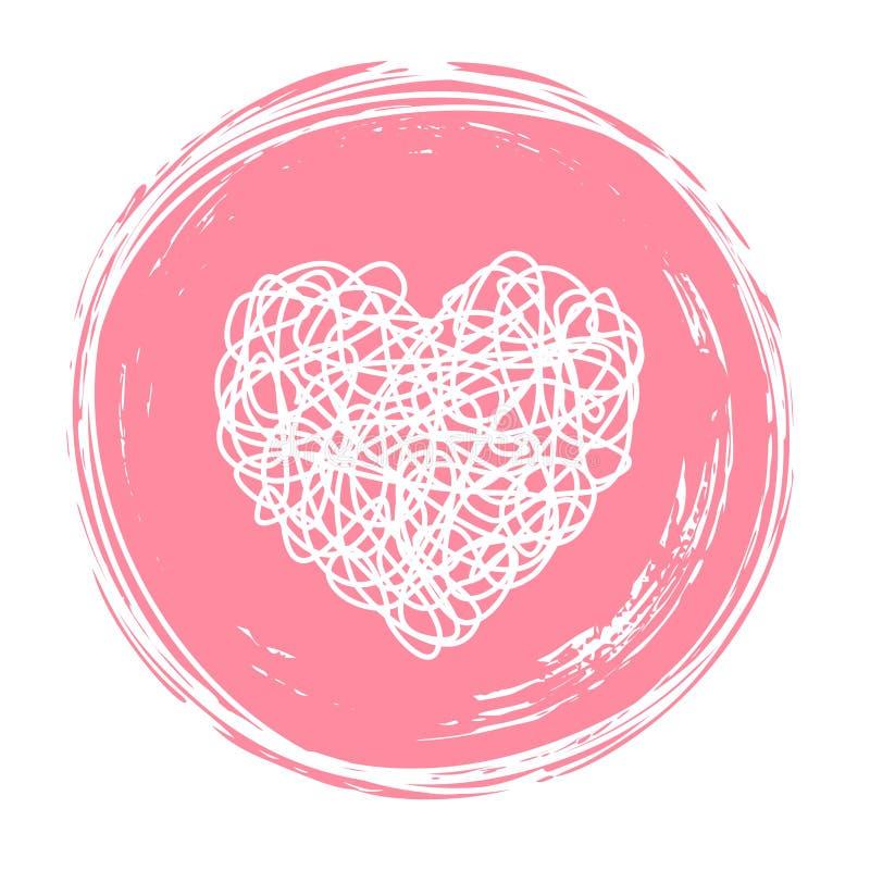 Сердце в круге сформировало запутанный grungy scribble иллюстрация штока