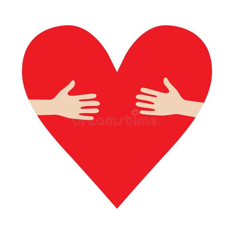 Сердце в пожертвовании вектора объятия рук ободряет иллюстрацию иллюстрация вектора