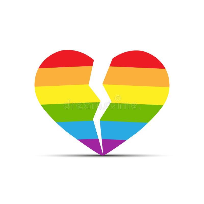 Сердце в цветах LGBT разделено в 2 половины бесплатная иллюстрация