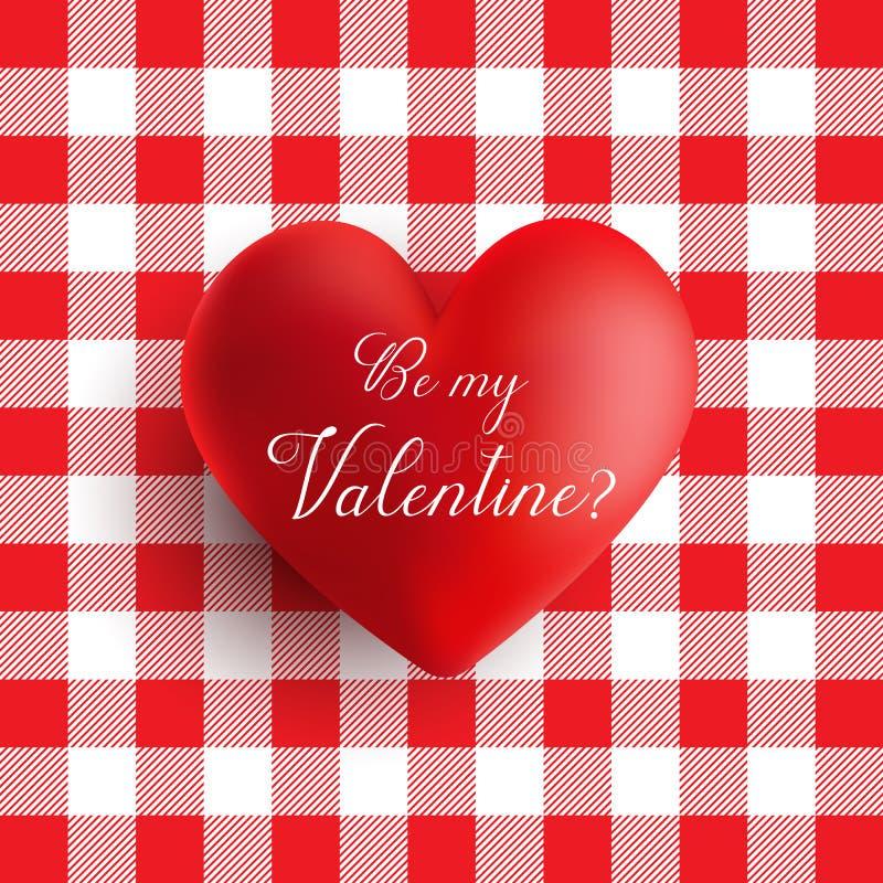 Сердце дня Валентайн на красной и белой картине холстинки бесплатная иллюстрация