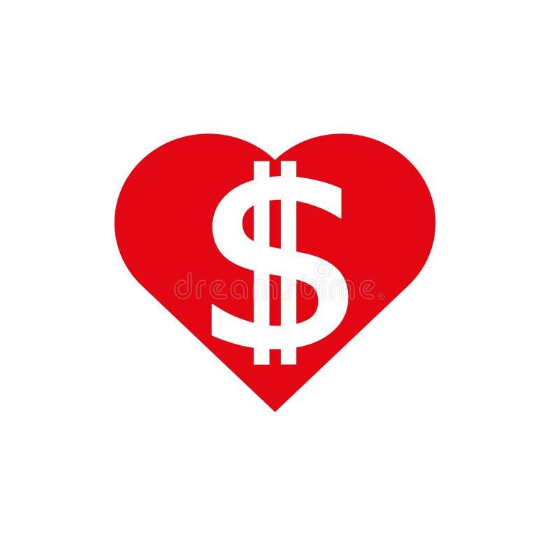 Сердце доллара в красном цвете иллюстрация вектора