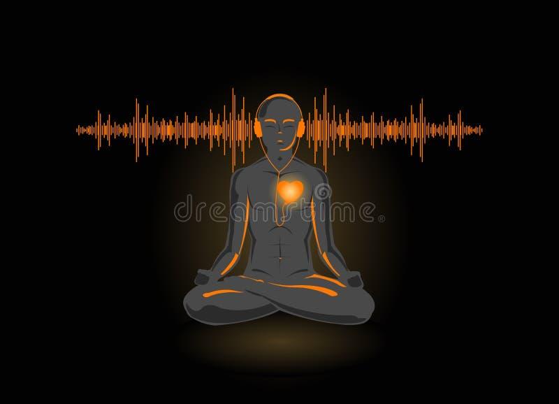 сердце его йога вектора иллюстрации слушая иллюстрация штока