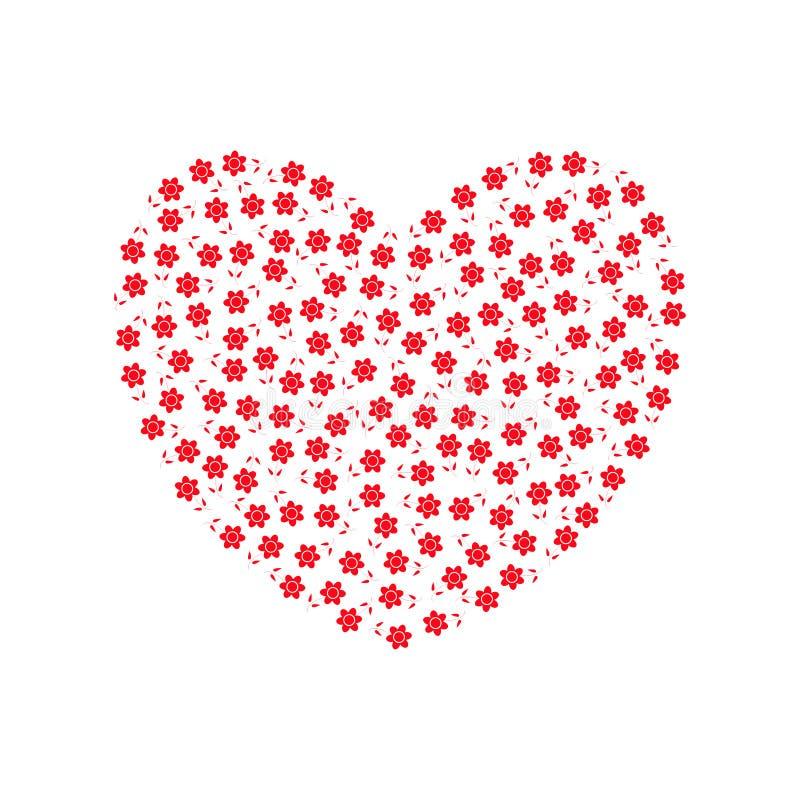 Сердце заполненное с цветками иллюстрация вектора