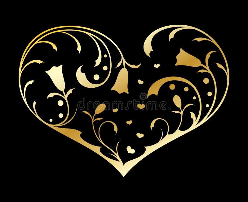 сердце золота богато украшенный иллюстрация вектора