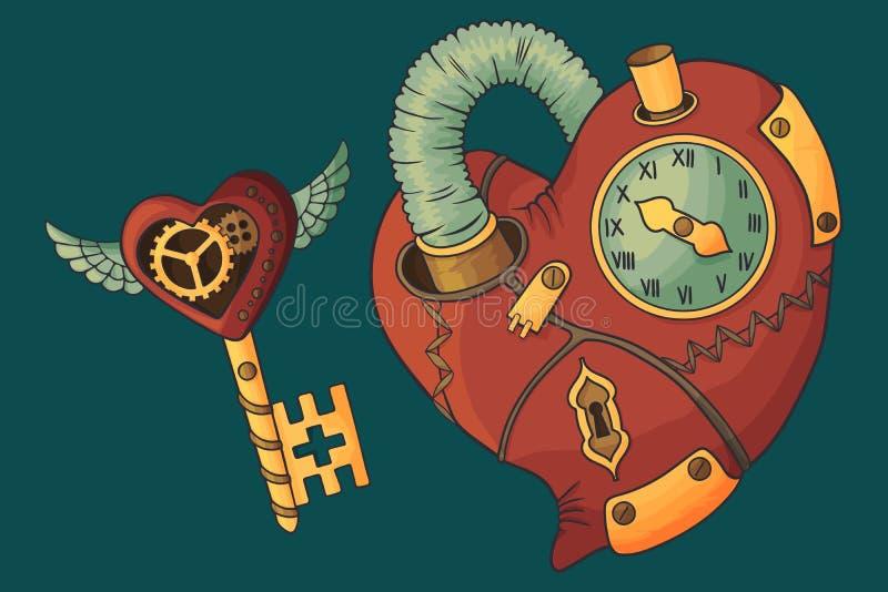 Сердце и ключ в стиле steampunk Изолированное изображение на предпосылке бирюзы иллюстрация вектора