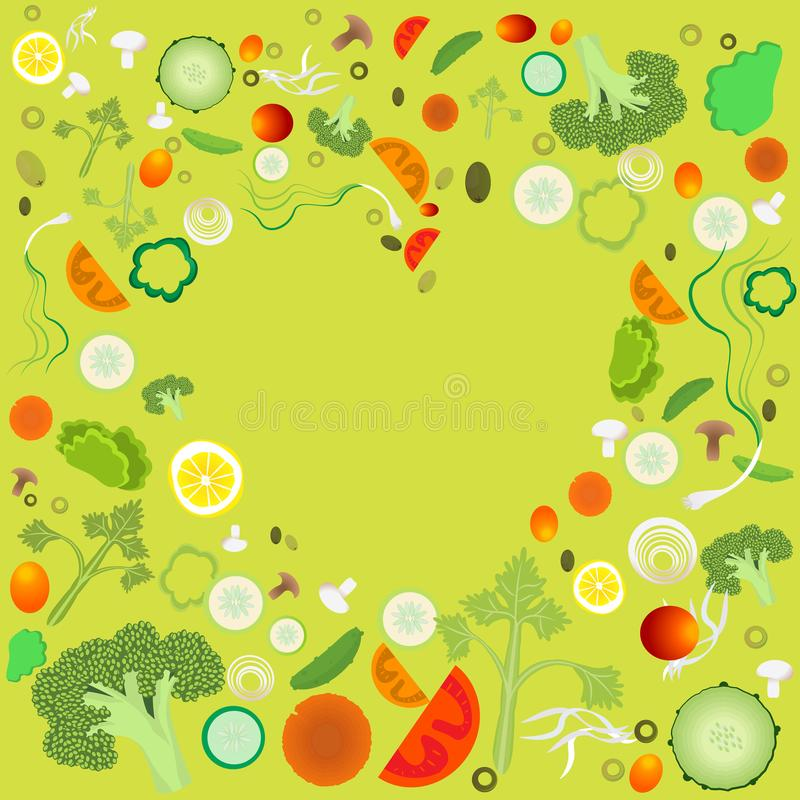 Сердце картины овоща иллюстрация вектора