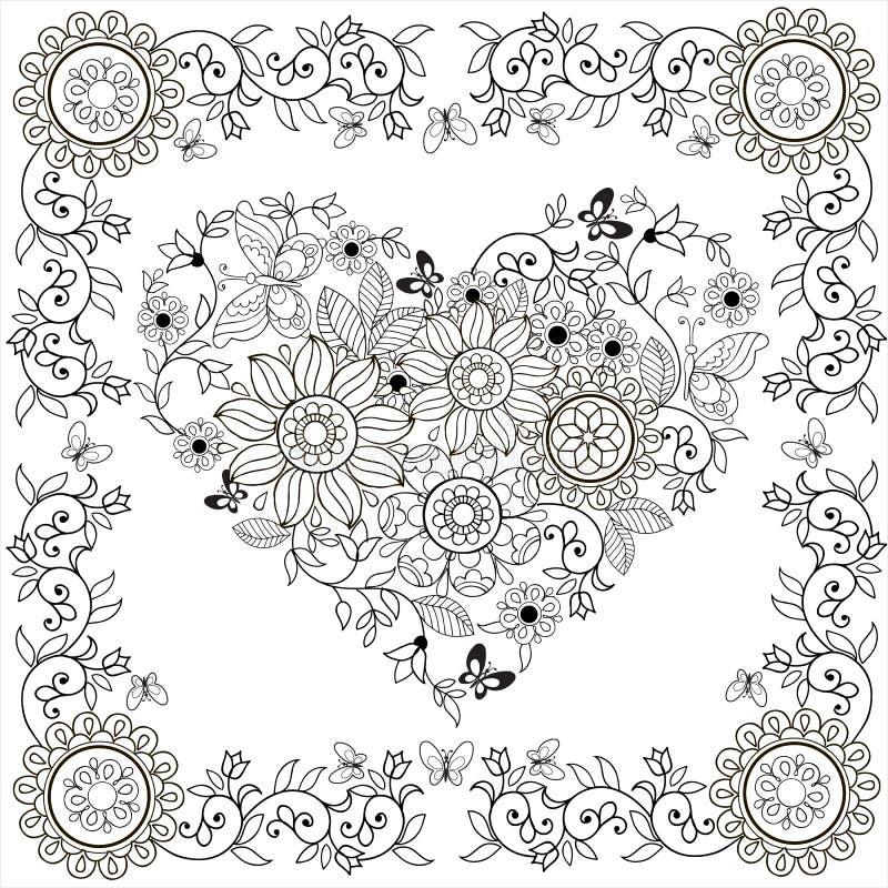 Сердце книжка-раскраски декоративное цветков и бабочек в флористической рамке также вектор иллюстрации притяжки corel бесплатная иллюстрация