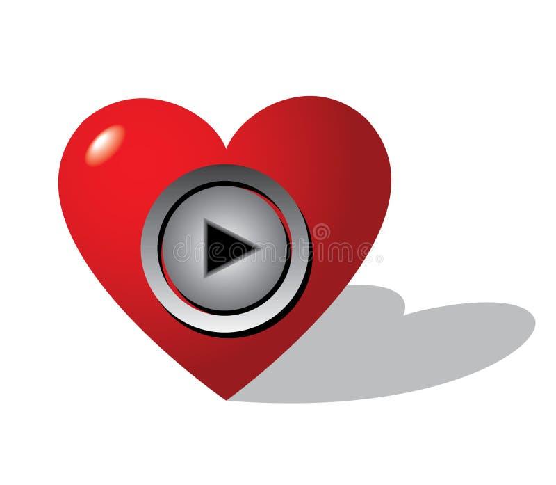 сердце кнопки иллюстрация вектора