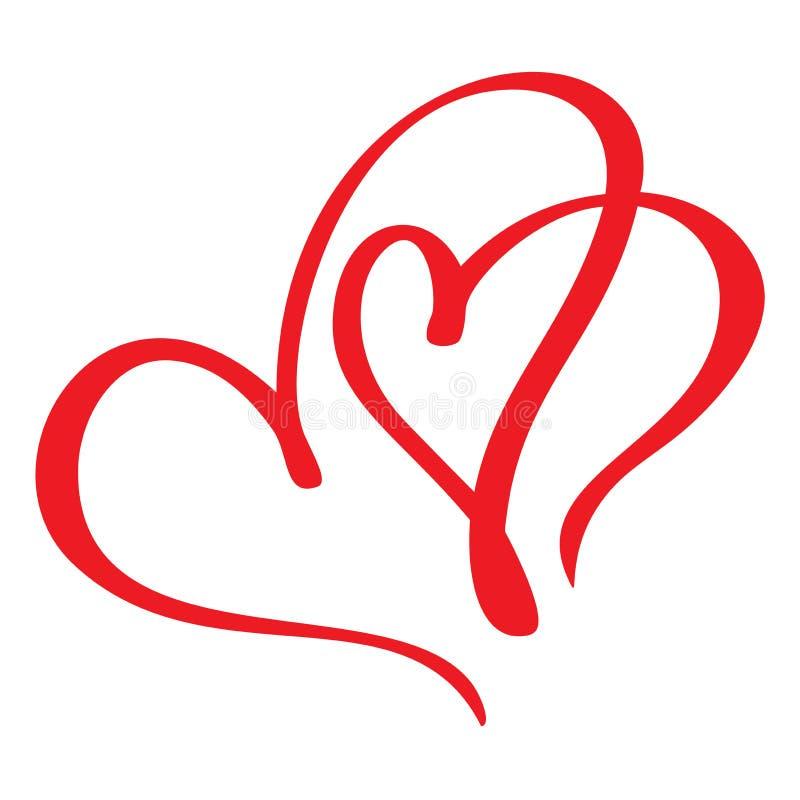 Сердце 2 красное любовников Handmade каллиграфия вектора Оформление для поздравительной открытки, верхних слоев фото, печати футб бесплатная иллюстрация