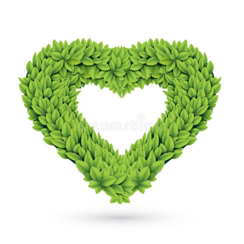 Сердце листьев с тенью иллюстрация штока