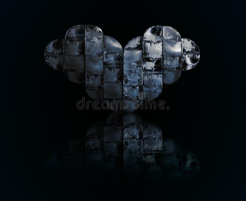 Сердце льда с отражением стоковое фото
