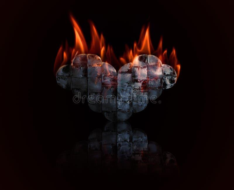 Сердце льда с пожаром стоковая фотография rf