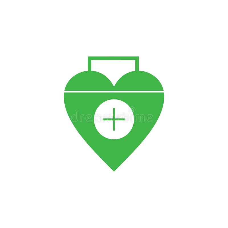 Сердце любов плюс медицинский вектор оформления символа иллюстрация вектора