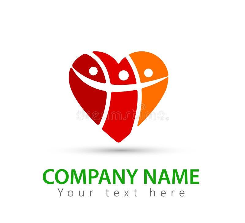 Сердце людей, совместно, здоровое, заботит, защищает, семья, дизайн логотипа Человеческий, счастливый иллюстрация вектора