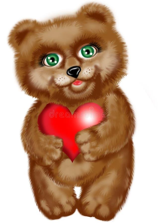 сердце медведя иллюстрация вектора