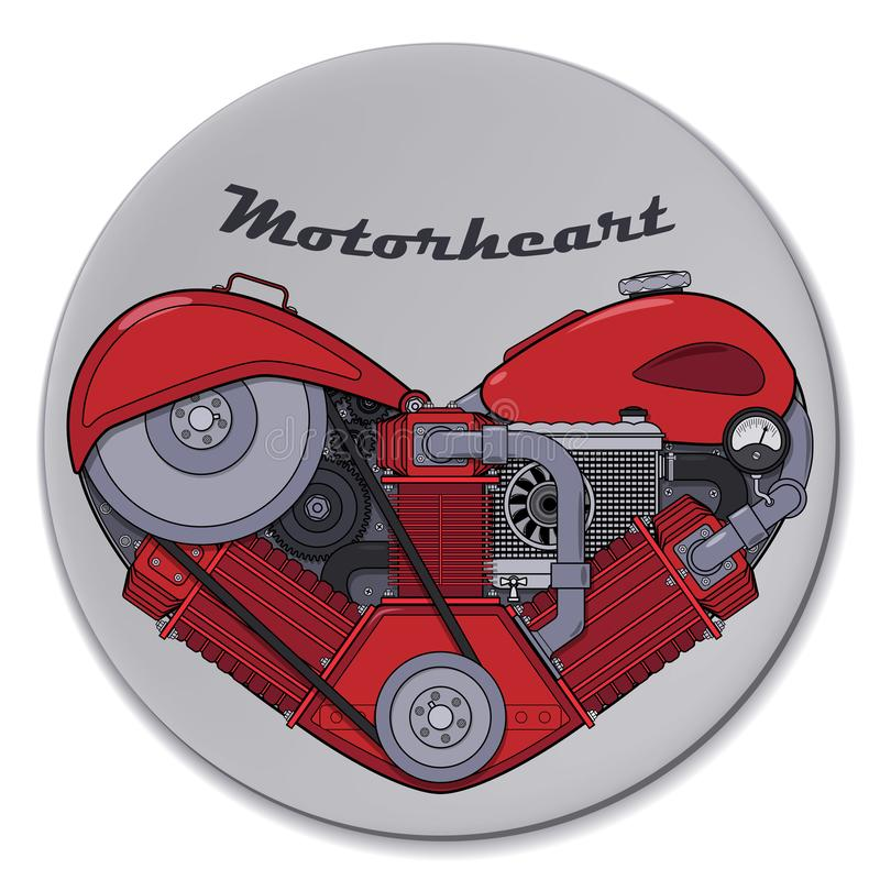 Сердце мотора в стиле steampunk на круге r бесплатная иллюстрация