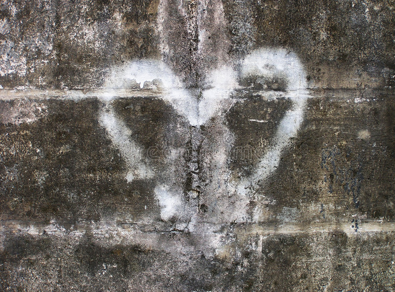 сердце надписи на стенах стоковое фото rf