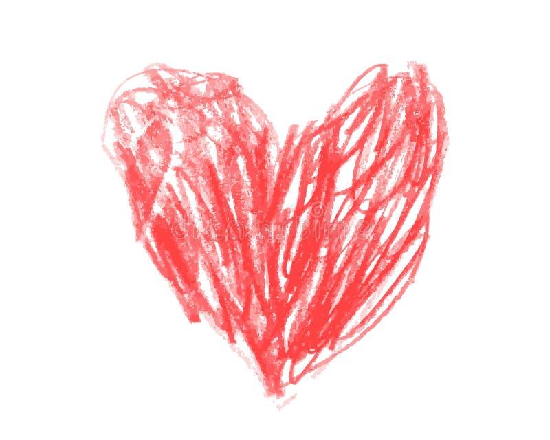Сердце нарисованное в чертеже красных детей карандаша бесплатная иллюстрация