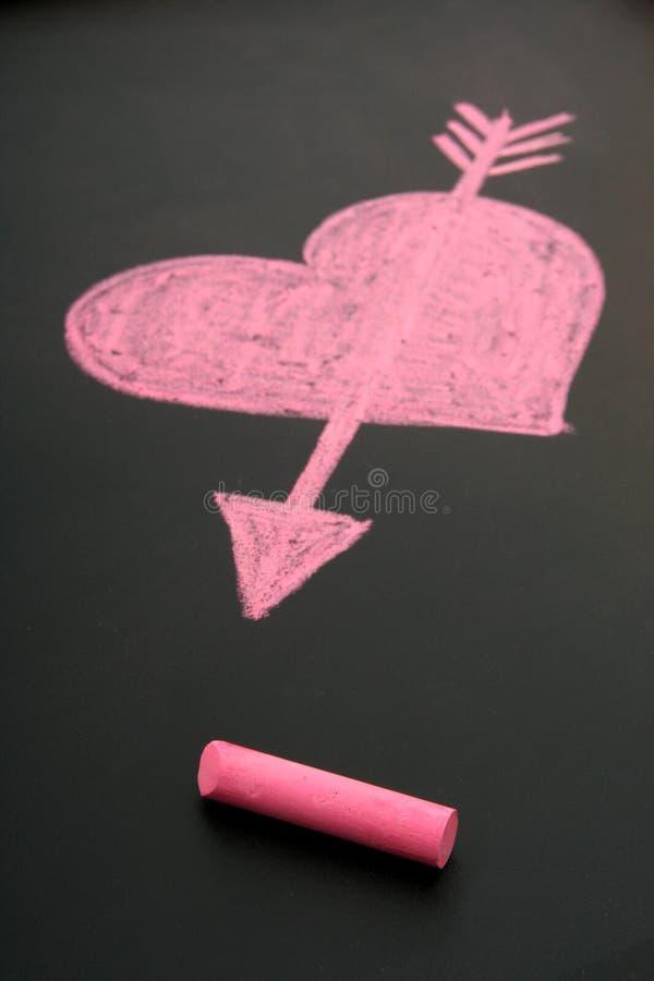 сердце нарисованное мелком стоковое фото rf