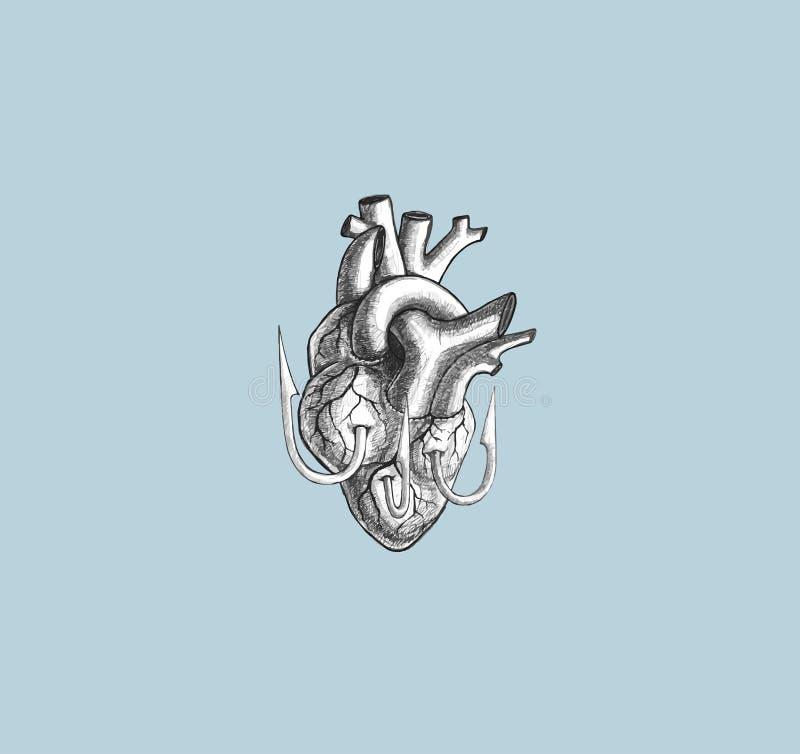 Сердце на рыболовном крючке на предпосылке пастельного цвета голубого неба Illustra иллюстрация вектора