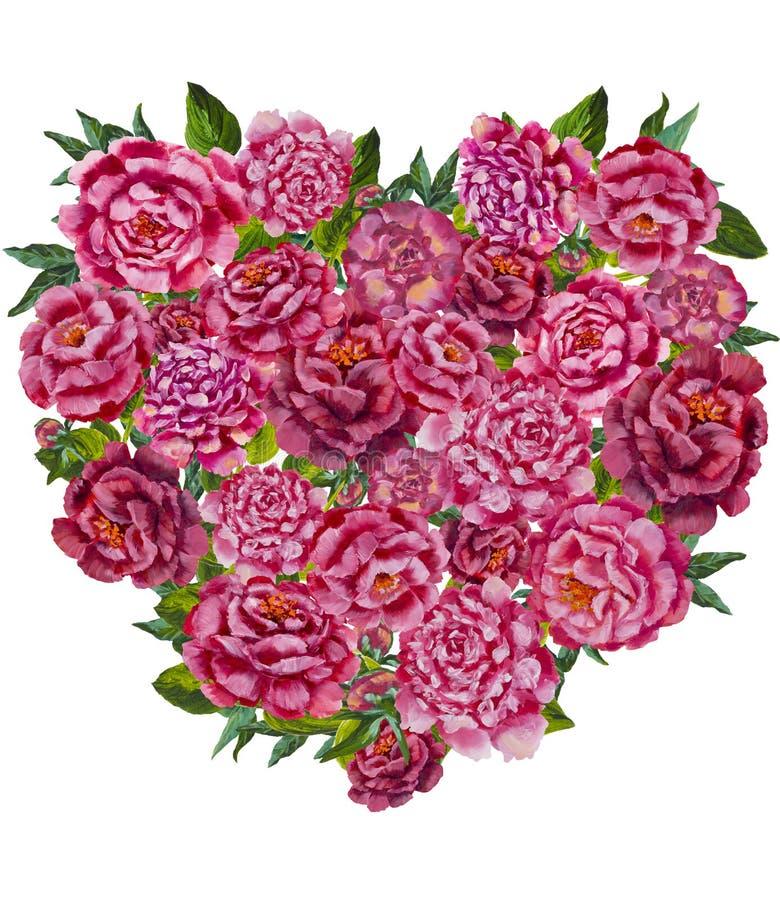 Сердце от картины предпосылки цветков Сердце цветка акварели Милое сердце валентинок с цветками бесплатная иллюстрация
