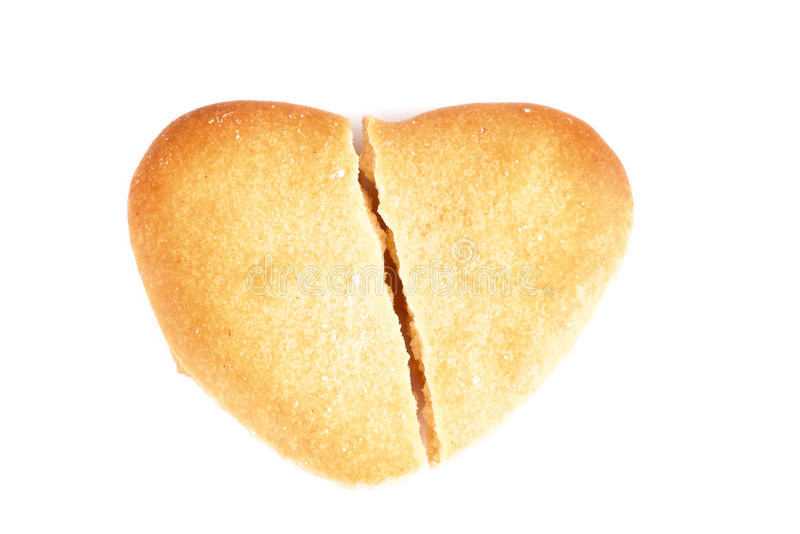 Сердце печенья сломленное стоковые изображения rf