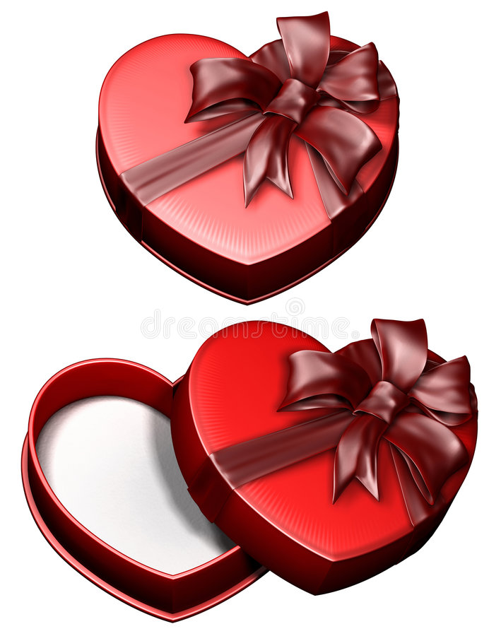 сердце подарка 2 коробок иллюстрация вектора
