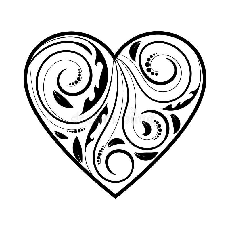 Сердце при орнамент в черноте изолированный на белизне иллюстрация штока