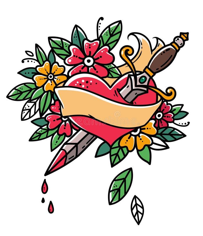 Сердце прокалыванное с кинжалом Сердце с лентой и цветками Кровотечение сердца Ретро татуировка Иллюстрация старой школы ретро бесплатная иллюстрация