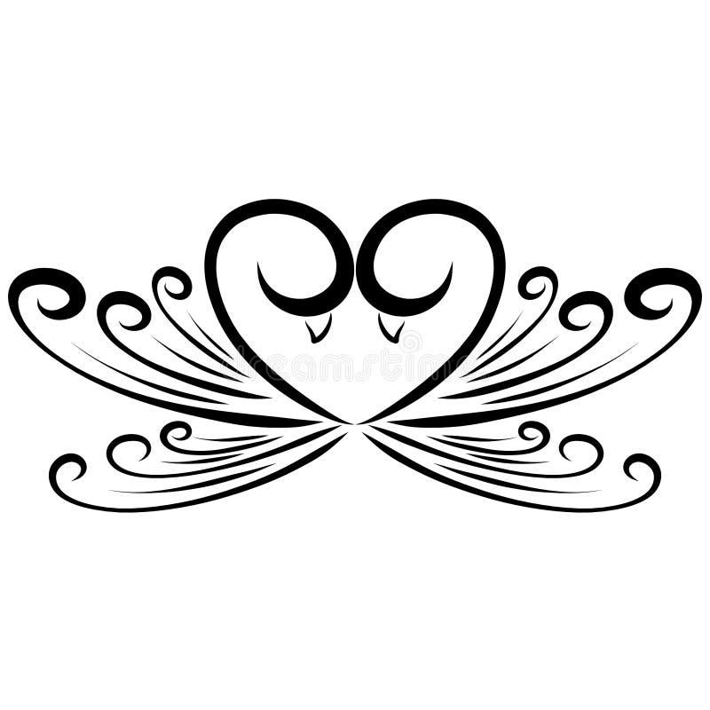 Сердце птиц в влюбленности, романтичной картине, чувствах иллюстрация вектора