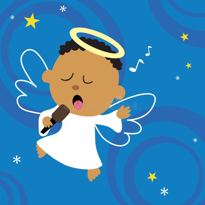 сердце рождества ангела его вне петь иллюстрация вектора