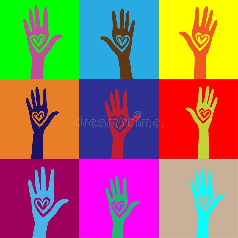 сердце руки предпосылки как соединенное безшовное людей бесплатная иллюстрация