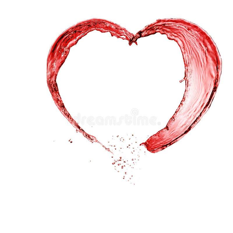 сердце сделало красное вино Валентайн стоковые изображения rf